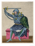 Man in Armour Brandishes a Sword and Holds a Green Shield with a Creatures Face Inscribed on It