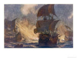 The Spanish Armada the Spanish Fleet is Dispersed by Fireships in the Calais Roads