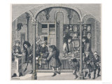 Shops Under a Covered Market in France Including a Goldsmith a Shoemaker and a Dealer in Snuff