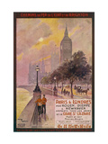 By Rail and Sea from Paris to Brighton or London Featuring the Embankment and Big Ben 6 of 8 Giclée par Maurice Toussaint