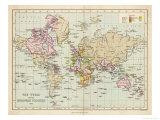 World Map Showing the European Colonies Giclée premium par F.s. Weller