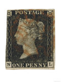 Penny Black Stamp with Red Maltese Cross Franking