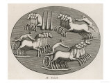 Four Four-Horse Chariots Racing in an Arena