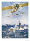 Seaplanes Attack a Surfaced Submarine in a Battle for the Supremacy of the Waves