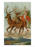 Santa and His Reindeer Flying Through the Sky with a Sleigh Full of Christmas Goodies