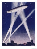 Zeppelin Raider is Caught in the Searchlights Over the Countryside