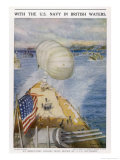 An Observation Balloon on an American Battleship in British Waters