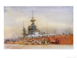 """After the Battle of Jutland Hms """"Princess Royal"""" Undergoes Repairs in a Dry Dock"""