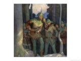 Robin and His Merry Men Emerge Cautiously from the Forest