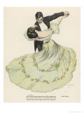 Valse Bleue  Her Wide Skirt Swirls Gracefully as Her Partner Leads Her Through a Passionate Waltz