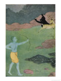 Rama the 7th Avatar of Vishnu Slays Maricha Who Has Assumed the Form of a Deer