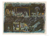 The Workings of a Mine Showing Miners at the Coal Face and the Coal Being Transported by Pony