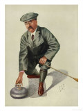 Dr H S Lunn a Noted Curling Player Crouches Down to Take His Shot