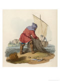 Medieval Fishermen Draws in His Nets