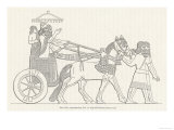 An Assyrian Ruler Rides in His Chariot Drawn by Two Horses with Two Grooms and Two Attendants