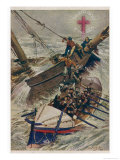 Lifeboat Saves Passengers from a Sailing Vessel: Note the Insignia the Red Cross of the Sea