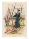 Barefoot Rating Signalling with Flags on Board a Warship of Her Majesty&#39;s Navy