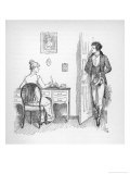 Mr Darcy Enters a Room in Which Elizabeth Bennet is Seated at Her Writing Desk