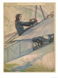 Woman at the Controls of an Early Aeroplane