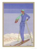 She Pauses Before Embarking on the Piste in Her Elegant Ski Costume