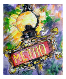 Paris - Metro Street Light Sign