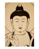 Buddha drawings in Japanese Buddhist temple in Sarnath