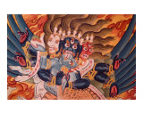 Wrathful Buddhist deity - mural painting from Tibetan monastery