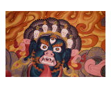 Wrathful Buddhist deity - mural painting from Tibetan monastery