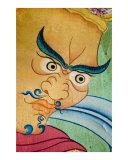 Yellow Buddhist Guardian mural paintings in Tibetan monastery