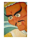 Red Buddhist Guardian mural paintings in Tibetan monastery