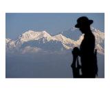 Gurkha soldier statue with Kangchenjunga mountain