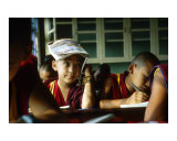 Young Tibetan Buddhist monks during classes