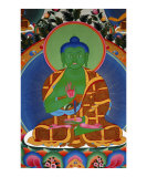 Green Buddha mural painting from Tibetan monastery