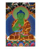 Green Buddha mural painting from Tibetan monastery