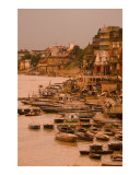 Varanasi ghats on holy Ganges river in Varanasi during sunset  India
