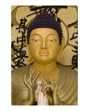 Face closeup of Japanese golden Buddha