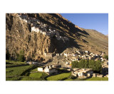 Karsha village and uphill Buddhist monastery in Zanskar  Ladakh