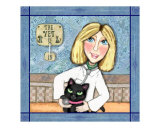 Blonde Lady Veterinarian and Black Cat