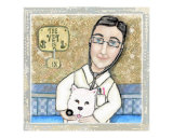 Male Veterinarian With Glasses & Westie Dog