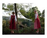 "Bavarian girls dressed in traditional ""dirndl"""