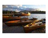 England  Cumbria  Lake District National Park Wooden rowing boats on Derwent Water / Derwentwater