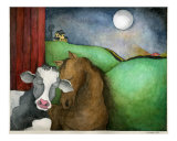 Cow and Horse Under the Moon