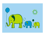 Elephants with Balloons - blue sky