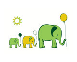 Elephants with Balloons - green