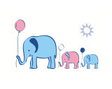 Elephants with Balloons - pink & blue