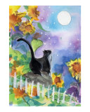 Tuxedo Cat in Moonlight with Sunflowers