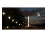 Washington Monument Moon Night
