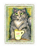 Tortie Cat and Tea Embellished