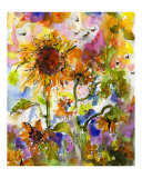 Sunflowers &amp; Bees Provence Abstract