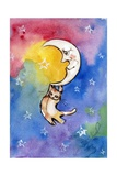 Yellow Tabby  Cat Hanging from Moon